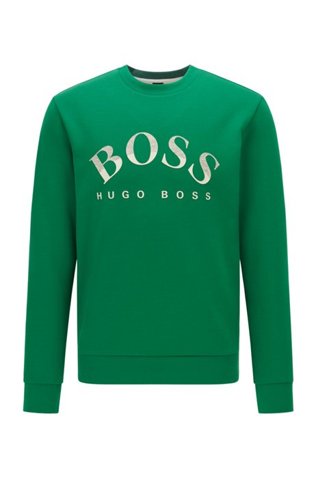 Cotton-blend slim-fit sweatshirt with curved logo, Green