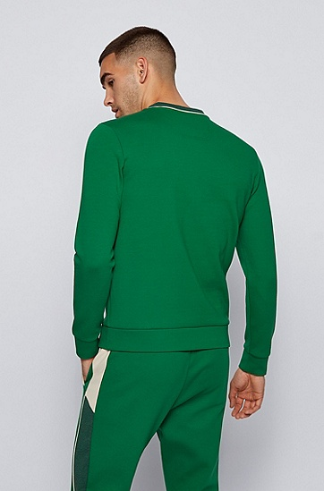 弧形徽标棉混纺修身运动衫,  310_Medium Green