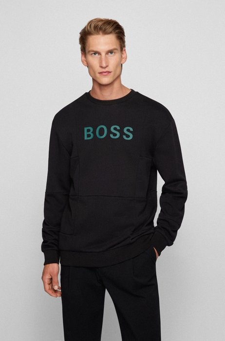 Crew-neck sweatshirt in patchwork cotton with silicone logo, Black