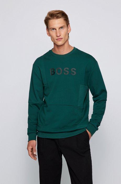 Crew-neck sweatshirt in patchwork cotton with silicone logo, Dark Green