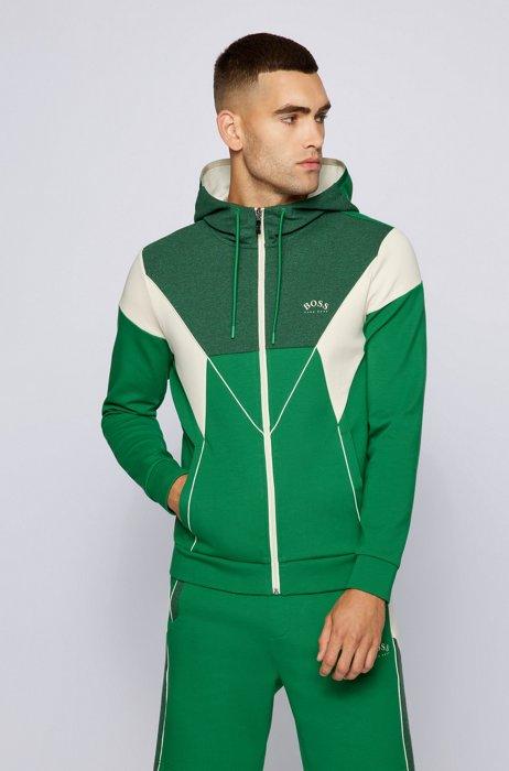Sweat à capuche color block en coton mélangé, Vert