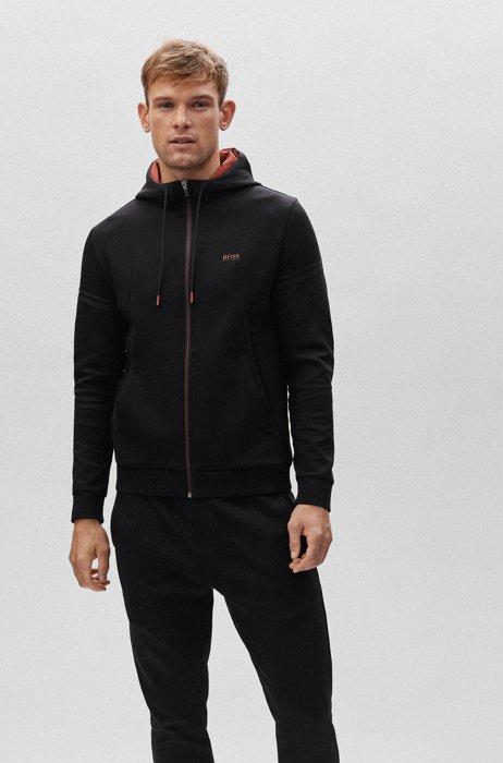 Cotton-blend regular-fit tracksuit with contrast logo, Black
