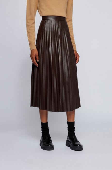 Midi skirt in faux leather with plissé pleats, Dark Brown