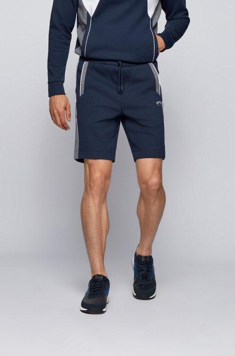 Cotton-blend regular-fit shorts with colour-blocking, Dark Blue