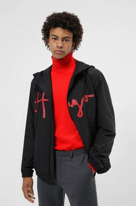 Hooded windbreaker jacket in recycled fabric with handwritten logo, Black