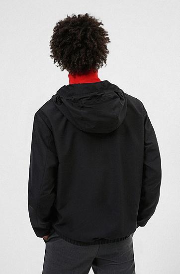 手写徽标装饰连帽防风夹克,  001_Black