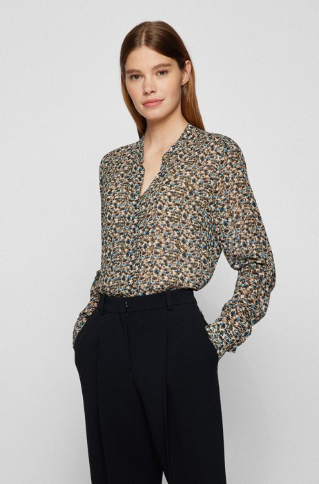 Regular-fit blouse with all-over print and detachable camisole, Patterned