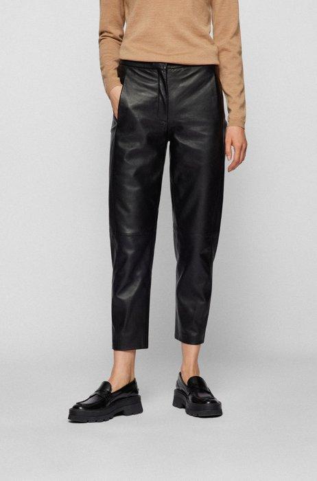 Regular-fit broek van wet-green® leer, Zwart