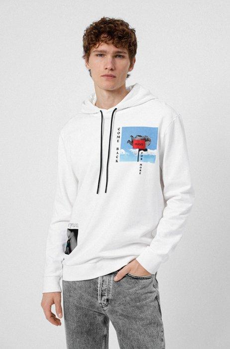 Unisex-Kapuzen-Sweatshirt aus Bio-Baumwolle mit Grafik-Prints, Weiß