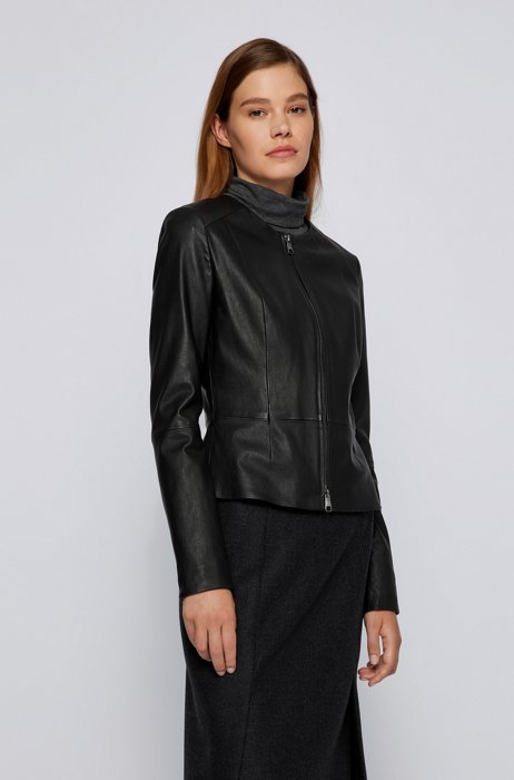 Slim-fit collarless jacket in stretch leather, Black