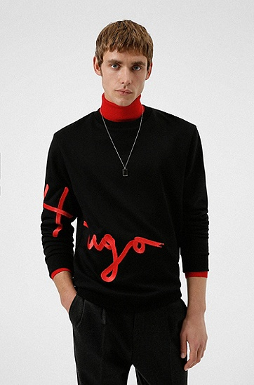 手写徽标刺绣运动衫,  001_Black