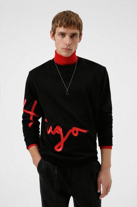 Handwritten-logo-embroidered sweatshirt in organic cotton, Black
