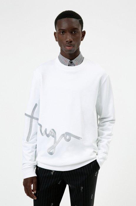 Handwritten-logo-embroidered sweatshirt in organic cotton, White