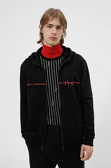 手写徽标刺绣棉质拉链连帽衫,  001_Black