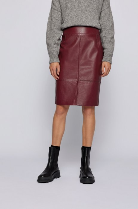 Pencil skirt in leather with feature seaming, Dark Red