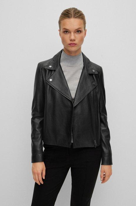 Regular-fit biker jacket in Olivenleder® with monogram lining, Black