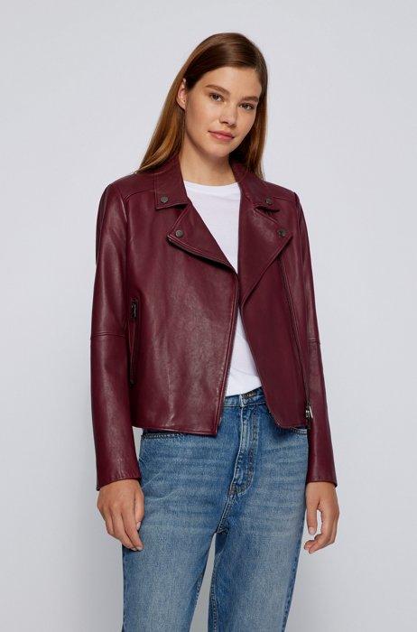 Regular-fit biker jacket in Olivenleder® with monogram lining, Dark Red