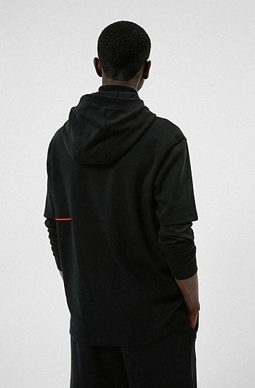 手写徽标刺绣棉质短袖连帽衫,  001_Black