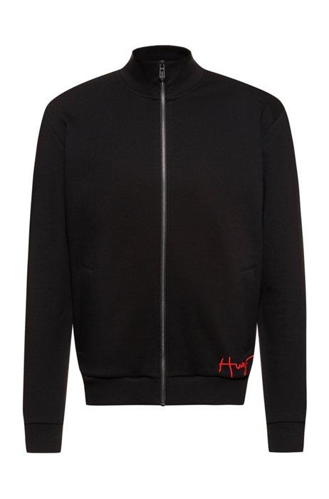 Organic-cotton zip-up sweatshirt with handwritten logo, Black