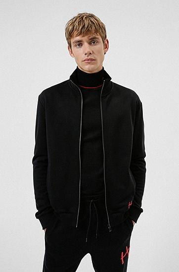手写徽标装饰棉质拉链运动衫,  001_Black