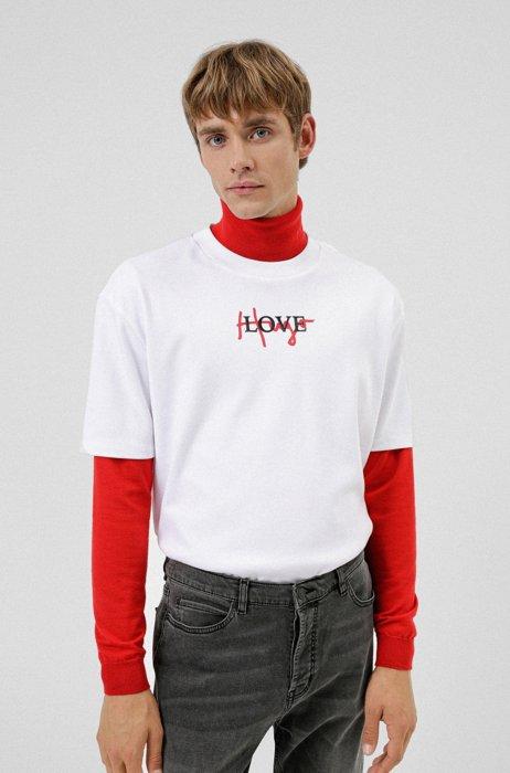 Cotton interlock T-shirt with handwritten logo artwork, White