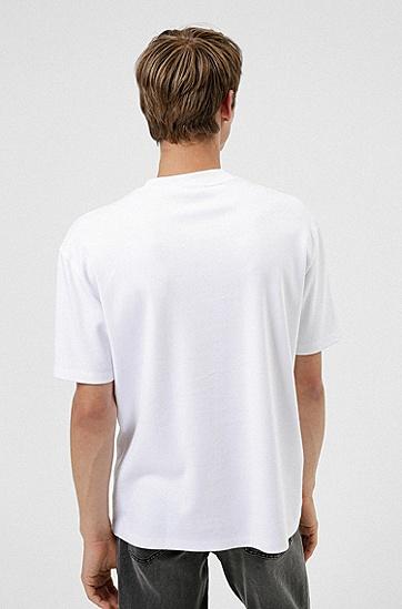 手写徽标图案棉毛 T 恤,  100_White