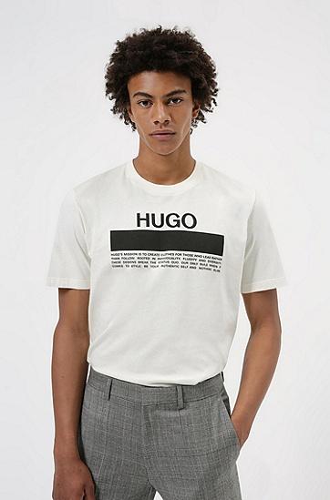 棉质平纹单面针织布宣言徽标印花 T 恤,  107_Natural