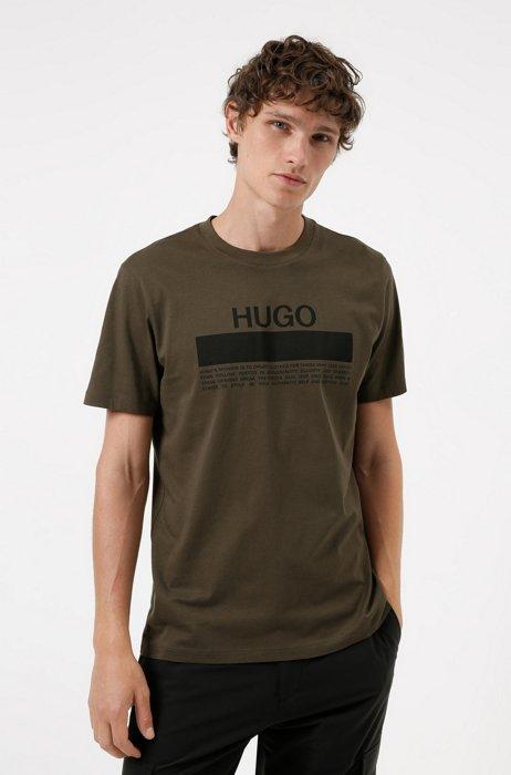 Manifesto-logo-print T-shirt in cotton jersey, Dark Green