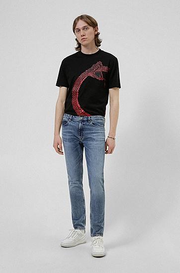 蛇形图案棉质 T 恤,  001_Black