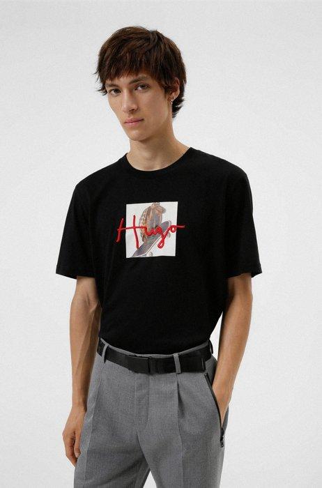 Cotton T-shirt with animal artwork and handwritten logo, Black