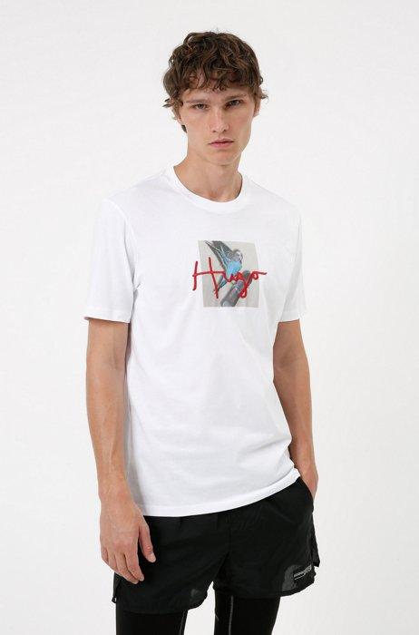Cotton T-shirt with animal artwork and handwritten logo, White