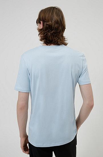 动物图案手写徽标装饰棉 T 恤,  455_Light/Pastel Blue