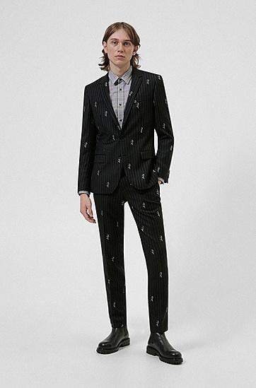 手绘徽标细条纹修身夹克,  001_Black
