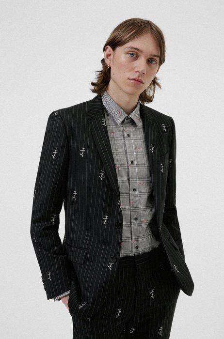 Pinstripe slim-fit jacket with handwritten logos, Black Patterned