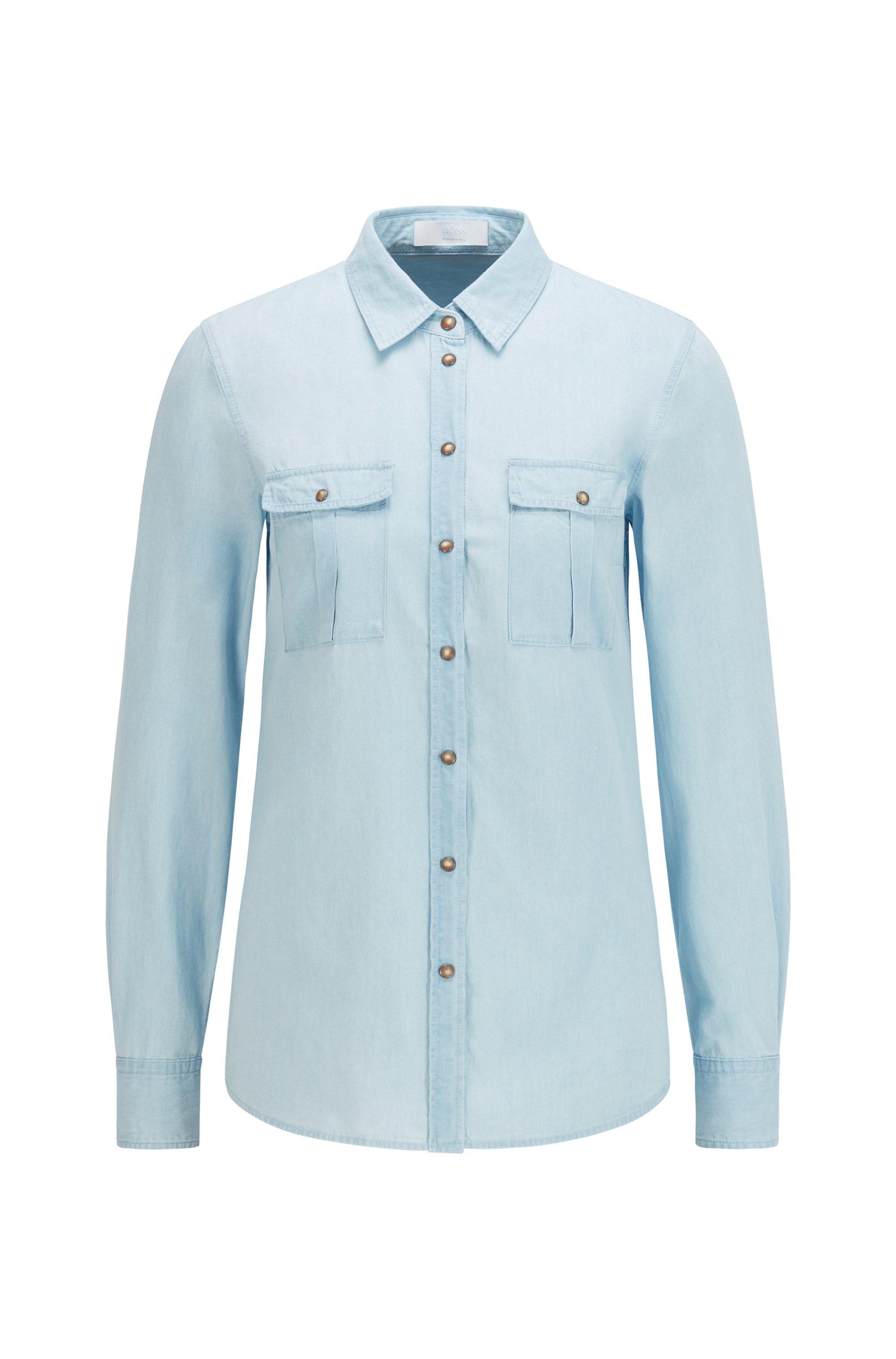 Blusa regular fit en denim de algodón orgánico, Celeste