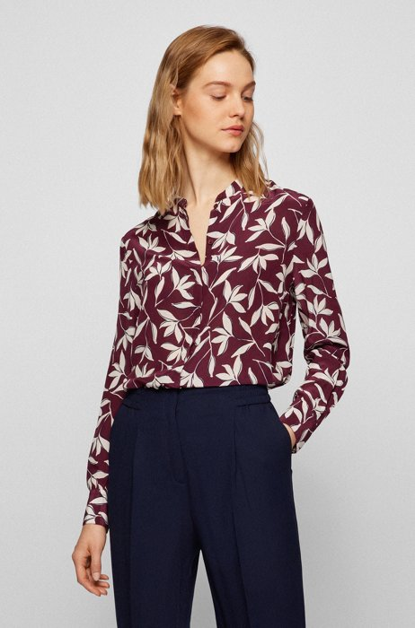 Relaxed-fit printed blouse with roll-up sleeves, Red Patterned