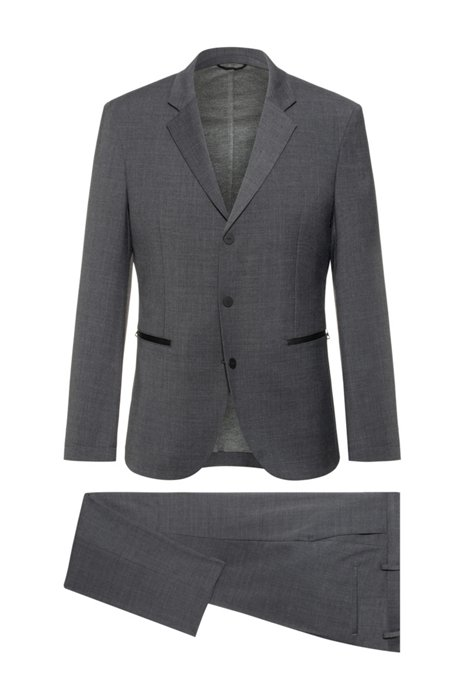 Opvouwbaar en wasbaar slim-fit pak van hoogwaardig stretchmateriaal, Donkergrijs