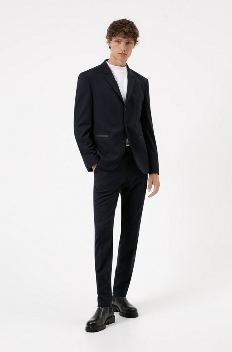 Packable slim-fit suit in washable performance-stretch fabric, Dark Blue