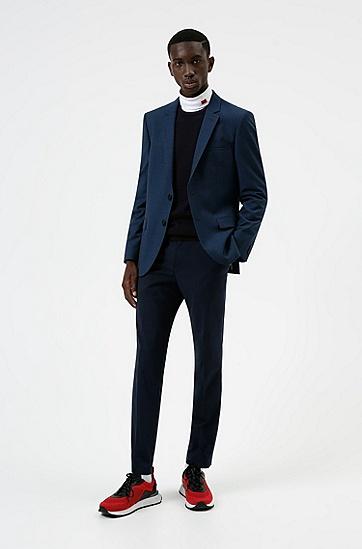 图案装饰羊毛混纺面料修身夹克,  404_Dark Blue