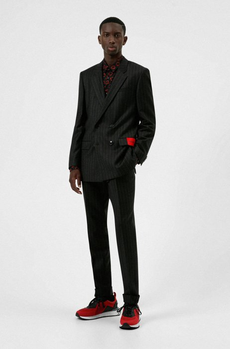 Double-breasted slim-fit suit with red logo label, Dark Grey
