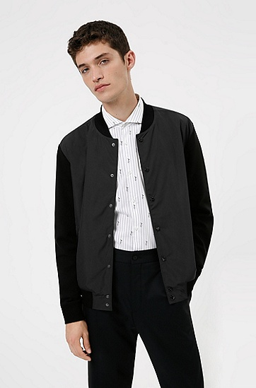 混合材质宽松版型飞行员夹克,  001_Black