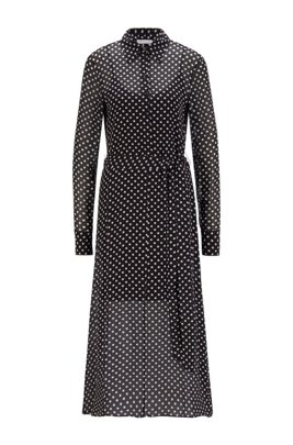 Maxi shirt dress in dot-print fabric, Black