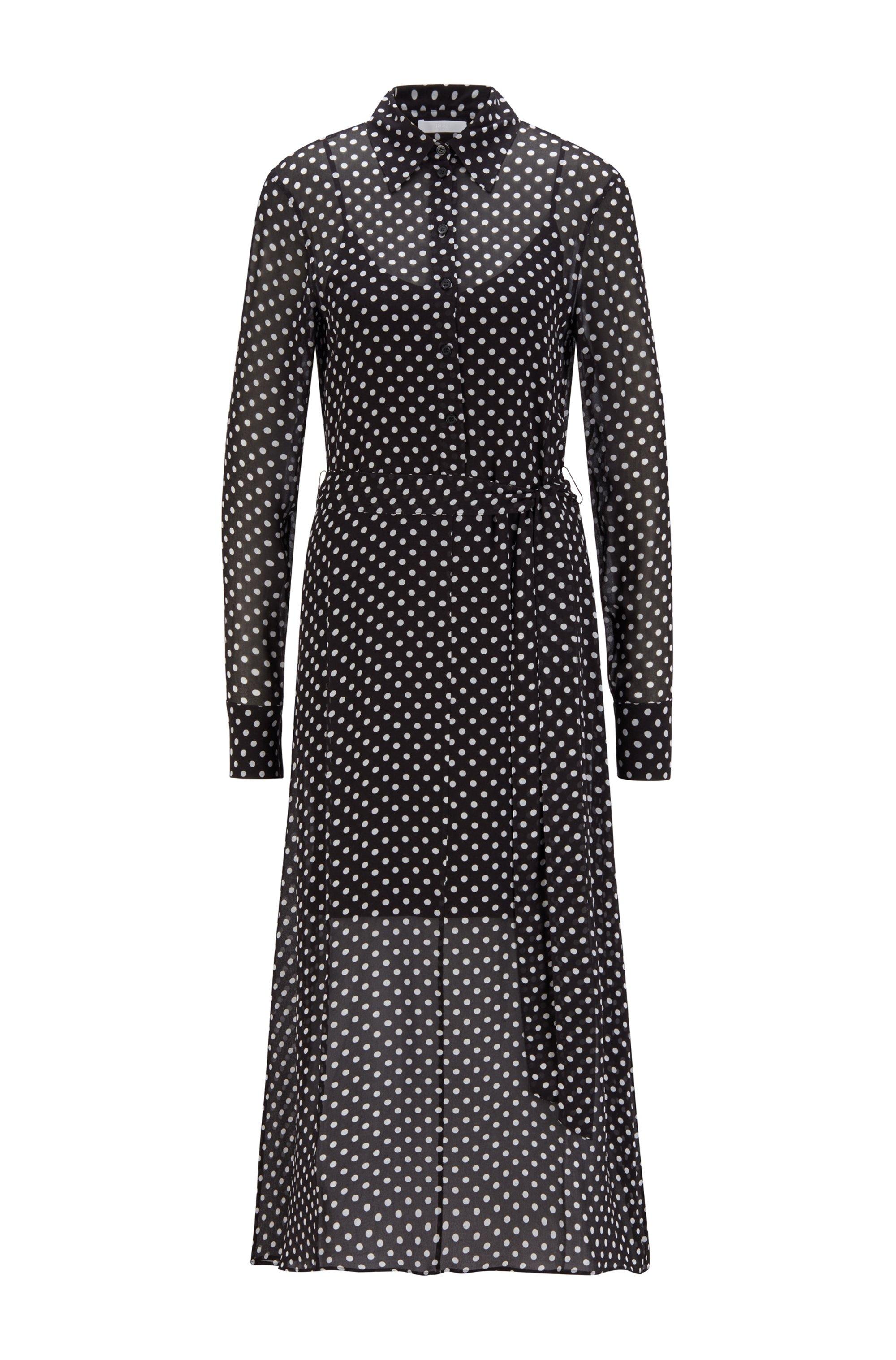 Maxi shirt dress in dot-print fabric, Black