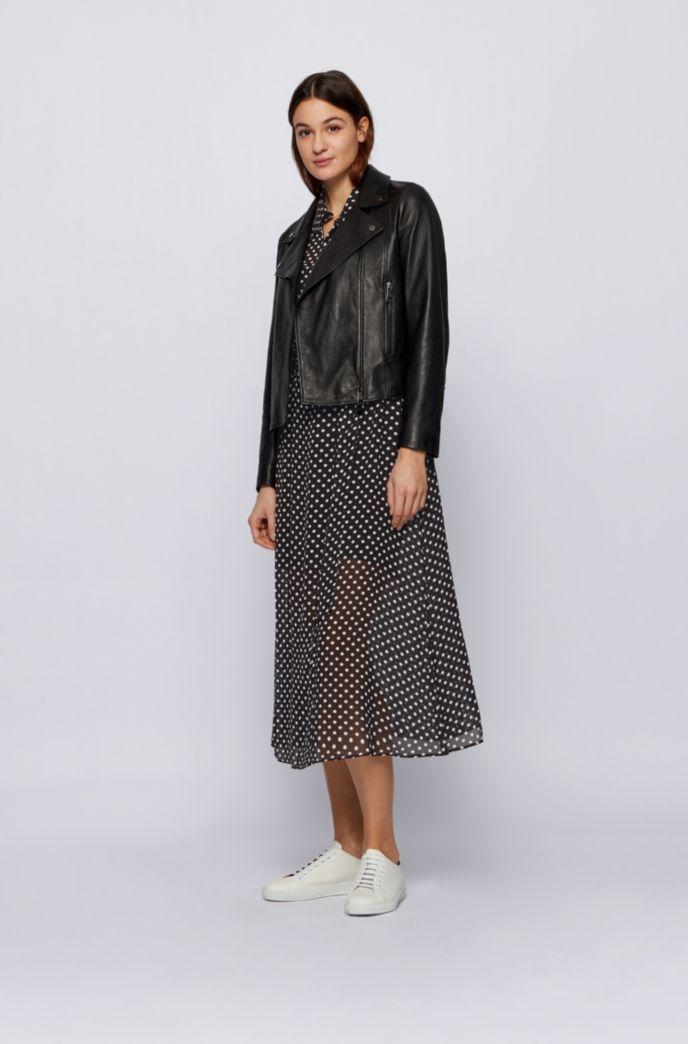 Maxi shirt dress in dot-print fabric