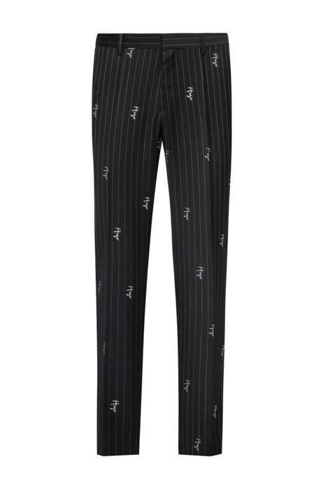 Pinstripe slim-fit trousers with handwritten logos, Black
