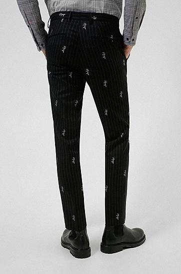 手绘徽标细条纹修身长裤,  001_Black