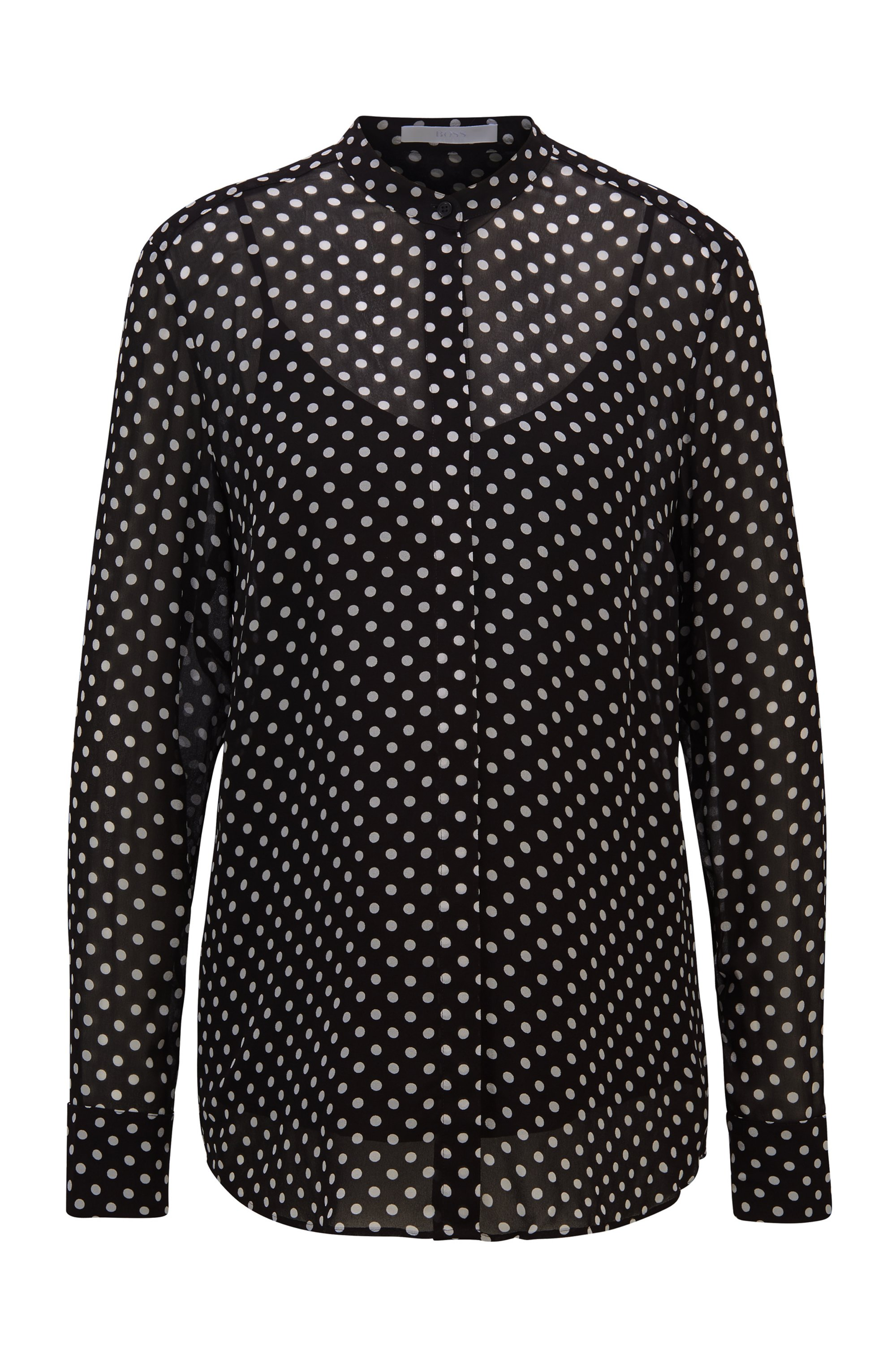Regular-fit blouse in dot-print canvas, Black