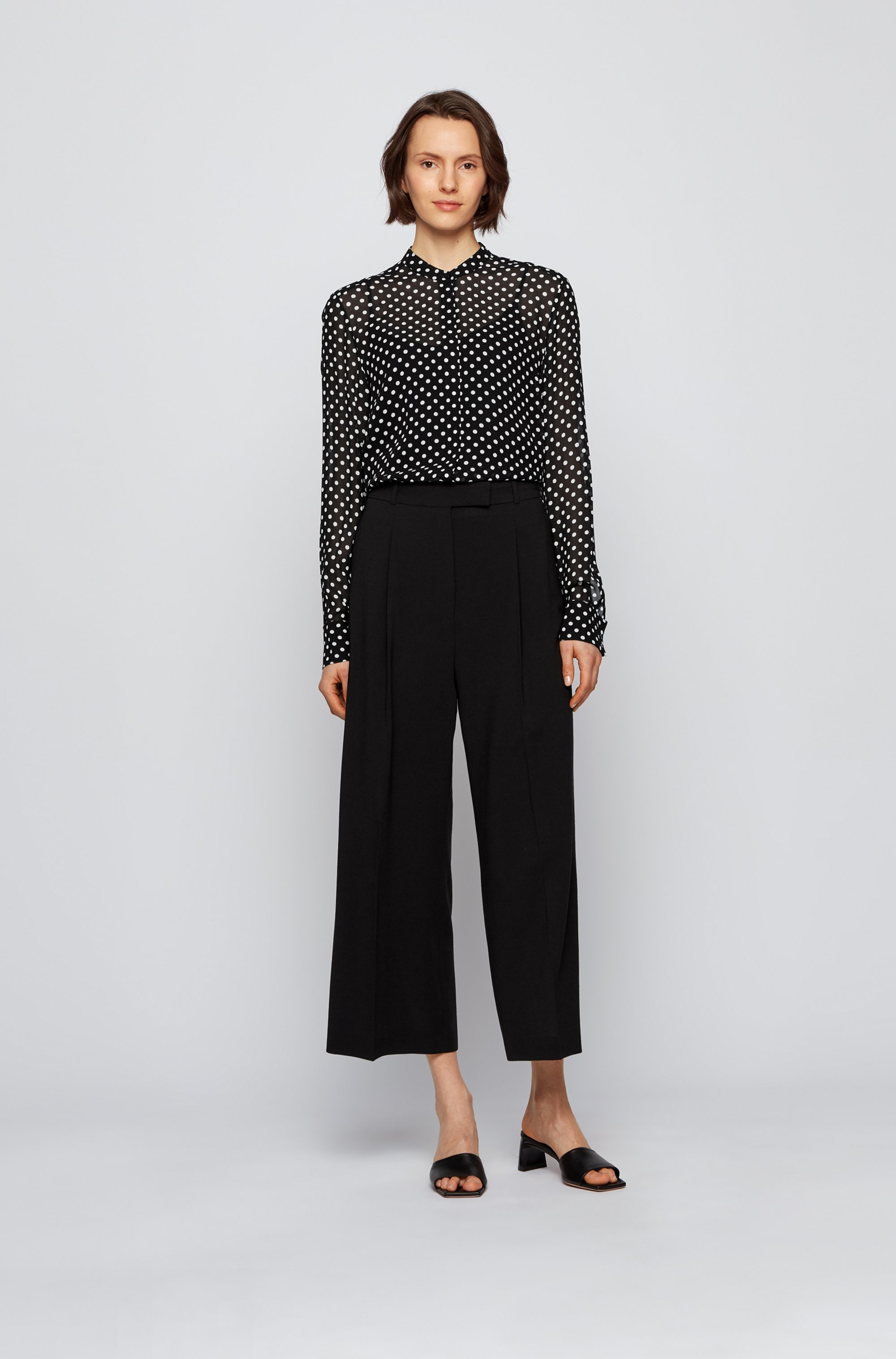 Regular-fit blouse in dot-print canvas