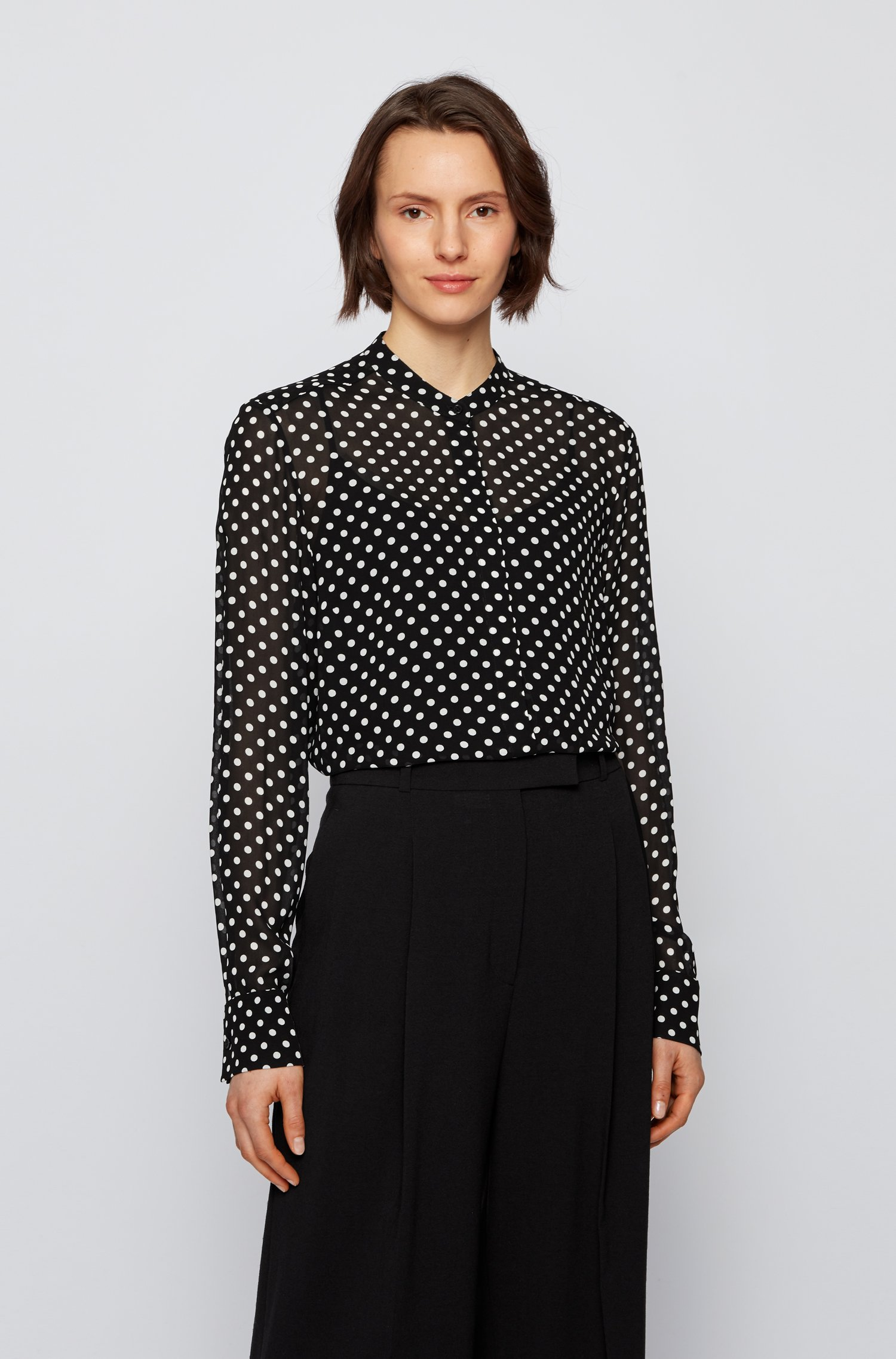 Regular-fit blouse in dot-print canvas, Black