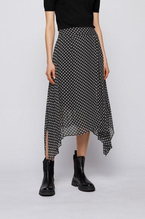 Dot-print midi skirt with handkerchief hem, Black